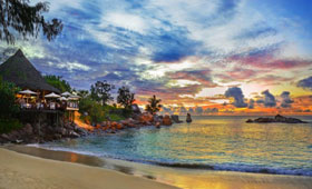 Sunset over a Seychelles resort
